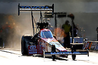 Sep 14, 2013; Charlotte, NC, USA; NHRA top fuel dragster driver Antron Brown during qualifying for the Carolina Nationals at zMax Dragway. Mandatory Credit: Mark J. Rebilas-