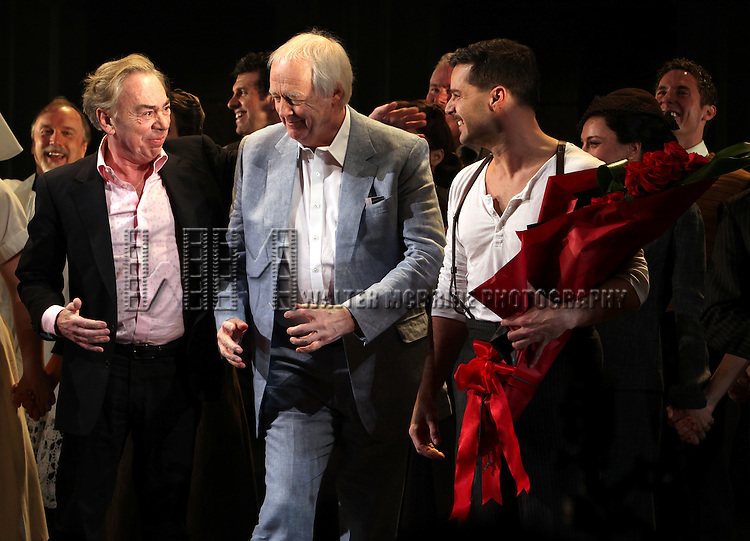 Andrew Lloyd Webber, Tim Rice & Ricky Martin.during the Broadway Opening Night Performance Curtain Call for 'EVITA' at the Marquis Theatre in New York City on 4/5/2012