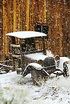1920s Dodge Brothers truck flivver in the snow, Berlin-Ichthyosaur State Park, Nev.