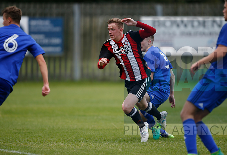 Jordan Hallam of Sheffield Utd scores the second goal during the professional development league two match at the Bracken Moor Stadium, Stocksbridge. Picture date 21st August 2017. Picture credit should read: Simon Bellis/Sportimage