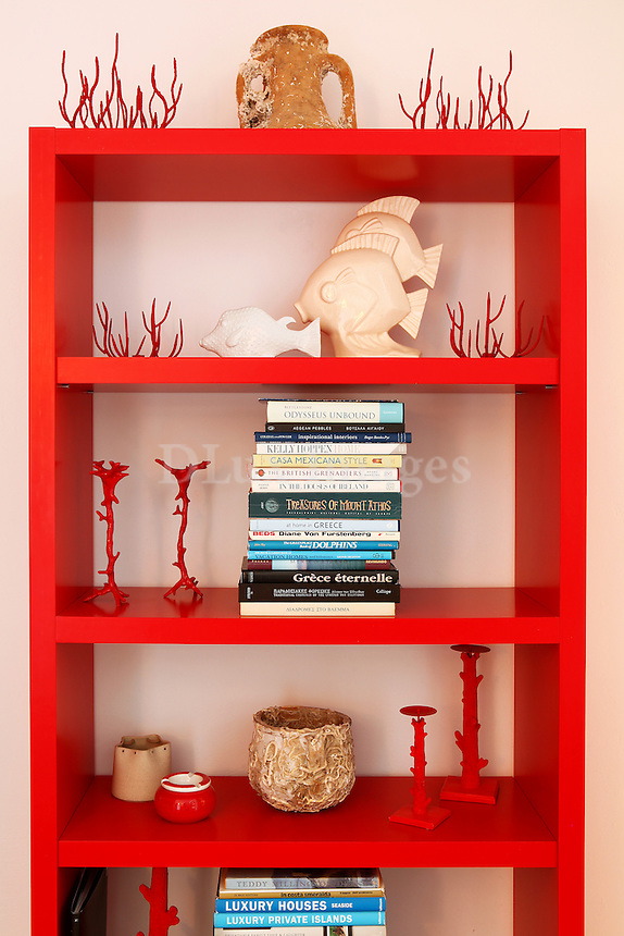 modern red bookcase
