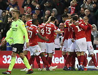 Nottingham Forest's Lewis Grabban celebrates scoring his side's first goal <br /> <br /> Photographer Rachel Holborn/CameraSport<br /> <br /> The EFL Sky Bet Championship - Nottingham Forest v Sheffield United - Saturday 3rd November 2018 - The City Ground - Nottingham<br /> <br /> World Copyright &copy; 2018 CameraSport. All rights reserved. 43 Linden Ave. Countesthorpe. Leicester. England. LE8 5PG - Tel: +44 (0) 116 277 4147 - admin@camerasport.com - www.camerasport.com