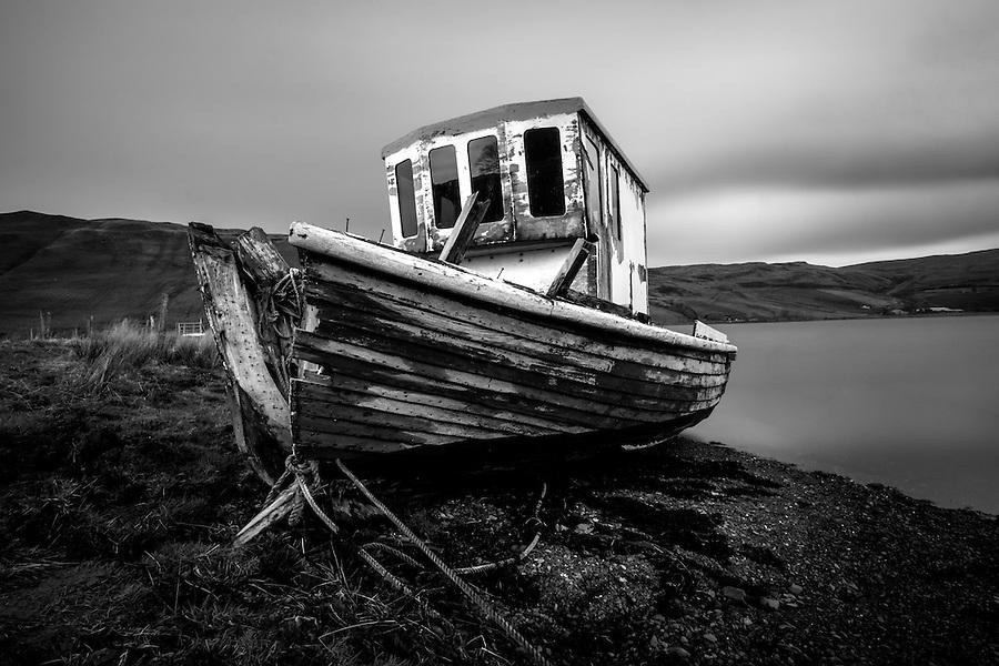 SCOTLAND - CIRCA APRIL 2016: Abandoned boat over Loch Harport near Carbost in Skye an Island in Scotland