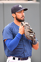 Catcher Ali Sanchez (20) of the Columbia Fireflies warms up before a game against the Lakewood BlueClaws on Saturday, May 6, 2017, at Spirit Communications Park in Columbia, South Carolina. Lakewood won, 1-0 with a no-hitter. (Tom Priddy/Four Seam Images)