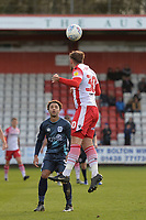 Luke Wilkinson of Stevenage heads clear during Stevenage vs Bury, Sky Bet EFL League 2 Football at the Lamex Stadium on 9th March 2019
