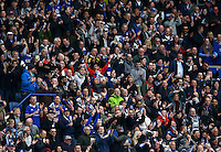 Leicester City fans celebrate during the Barclays Premier League match between Leicester City and Swansea City played at The King Power Stadium, Leicester on 24th April 2016