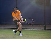 June 13th 2017, Nottingham, England; ATP Aegon Nottingham Open Tennis Tournament day 4;  Backhand from Bryden Klein of Great Britain against Alex De Minaur of Australia