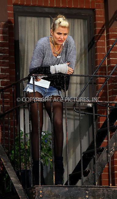 WWW.ACEPIXS.COM<br /> <br /> November 12 2013, New York City<br /> <br /> Actress Cameron Diaz was on the set of the new movie 'Annie' in Harlem on November 12 2013 in New York City<br /> <br /> By Line: Zelig Shaul/ACE Pictures<br /> <br /> <br /> ACE Pictures, Inc.<br /> tel: 646 769 0430<br /> Email: info@acepixs.com<br /> www.acepixs.com