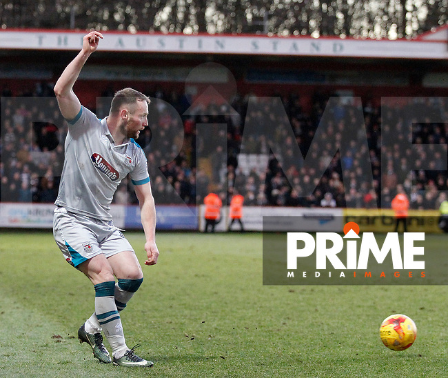Grimsby's Ben Davies passes the ball during the Sky Bet League 2 match between Stevenage and Grimsby Town at the Lamex Stadium, Stevenage, England on 28 January 2017. Photo by Carlton Myrie / PRiME Media Images.