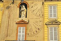 - Parma, front of the town hall with the sundial clock<br /> <br /> - Parma, la facciata del municipio con l'orologio meridiana