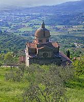 Tuscany, Italy, <br /> Santa Maria del Nuova (1550) set in the hillside at Cortona - above the fields of the Val di Chiana