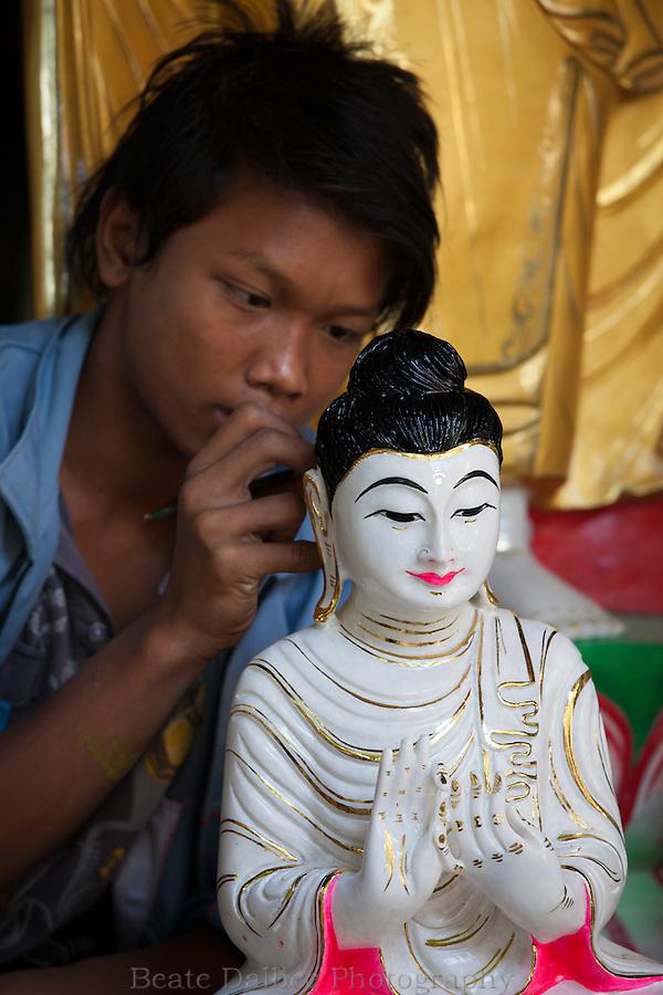 marble sculptures along Marble street in Mandalay, Myanmar