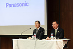 Panasonic president Kazuhiro Tsuga (R) answers questions from the media alongside executive director Hideaki Kawai (L) during a news conference at the company's headquarters on March 31, 2016, in Tokyo, Japan. Panasonic announced that it expects sales of 8.8 trillion yen ($78.28 billion) for the 2018 fiscal year, 12 percent less that its previous forecast target of 10 trillion yen because of an uncertain global economy. (Photo by Rodrigo Reyes Marin/AFLO)