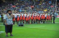 Fiji players sing the national anthem during the 2017 Rugby League World Cup quarterfinal match between New Zealand Kiwis and Fiji at Wellington Regional Stadium in Wellington, New Zealand on Saturday, 18 November 2017. Photo: Dave Lintott / lintottphoto.co.nz