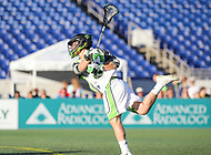 Annapolis, MD - July 7, 2018: New York Lizards Joe LoCascio (5) scores a goal during the game between New York Lizards and Chesapeake Bayhawks at Navy-Marine Corps Memorial Stadium in Annapolis, MD.   (Photo by Elliott Brown/Media Images International)