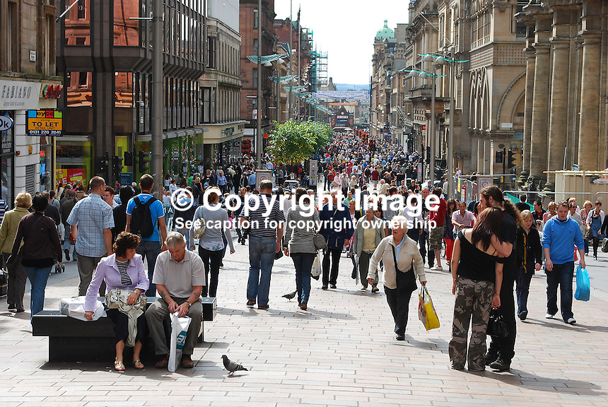 Buchanan Street, Glasgow, Scotland, GV, 200808230578..Copyright Image from Victor Patterson, 54 Dorchester Park, Belfast, UK, BT9 6RJ..Tel: +44 28 9066 1296.Mob: +44 7802 353836.Voicemail +44 20 8816 7153.Skype: victorpattersonbelfast.Email: victorpatterson@mac.com.Email: victorpatterson@ireland.com (back-up)..IMPORTANT: If you wish to use this image or any other of my images please go to www.victorpatterson.com and click on the Terms & Conditions. Then contact me by email or phone with the reference number(s) of the image(s) concerned.