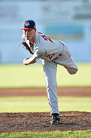 Auburn Doubledays pitcher Travis Ott (22) delivers a pitch during a game against the Batavia Muckdogs on June 14, 2014 at Dwyer Stadium in Batavia, New York.  Batavia defeated Auburn 7-2.  (Mike Janes/Four Seam Images)