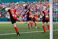 Rochester, NY - Saturday June 11, 2016: Orlando Pride forward Jasmyne Spencer (23), Western New York Flash midfielder Elizabeth Eddy (4), Western New York Flash midfielder Abigail Dahlkemper (13) during a regular season National Women's Soccer League (NWSL) match between the Western New York Flash and the Orlando Pride at Rochester Rhinos Stadium.