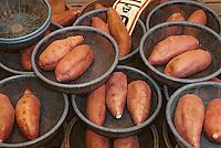 """Asie/Japon/Kyoto: Le marché couvert """"Nishikikoji-dori"""" - Détail d'un étal de légume-patates"""