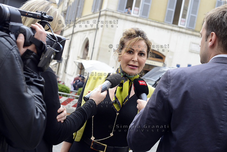 Roma, 30 Aprile 2015<br /> Daniela Santanchè con giornalisti.<br /> Votata le seconda fiducia alla Legge elettorale