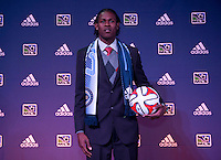 #1 overall pick Andre Blake of the Philadelphia Union poses for a photo during the MLS SuperDraft at the Pennsylvania Convention Center in Philadelphia, PA, on January 16, 2014.