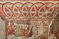Pictures &amp; images of the interior frescoes of the  Comlekci Church,  10th century, the Vadisi Monastery Valley, &quot;Manastır Vadisi&rdquo;,  of the Ihlara Valley, Guzelyurt , Aksaray Province, Turkey.<br /> <br /> Comlekci Church is a Roman Byzantine church dating from the 10th century. the south section of the roof frescoes depict the Evangel, Christmas and the adoration of the magi. The northern panel frescoes depict Christ and the Cross.