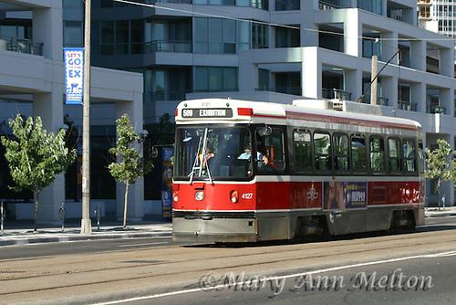 A horizontal shot of a Toronto streetcar