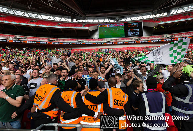Tranmere Rovers 1 Forest Green Rovers 3, 14/05/2017. Wembley Stadium, Conference play off Final. Forest Green fans celebrate in injury time during the Vanarama Conference play off Final  between Tranmere Rovers v Forest Green Rovers at the Wembley. Photo by Paul Thompson.