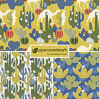 """Desert Vibrance"" is a hand illustrated scalable vector surface pattern collection - inspired by gorgeous colorful cactus and flora grown in deserts, and life of desert such as camels and cactus dwelling woodpeckers.<br />