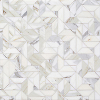 Zachary, a hand-cut stone mosaic, show in polished Calacatta Gold, is part of the Semplice™ collection for New Ravenna.