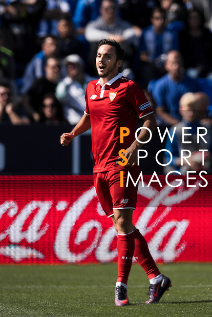 Pablo Sarabia of Sevilla FC celebrates during their La Liga match between Deportivo Leganes and Sevilla FC at the Butarque Municipal Stadium on 15 October 2016 in Madrid, Spain. Photo by Diego Gonzalez Souto / Power Sport Images