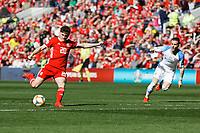 Daniel James of Wales scores the opening goal during the UEFA EURO 2020 Qualifier match between Wales and Slovakia at the Cardiff City Stadium, Cardiff, Wales, UK. Sunday 24 March 2019