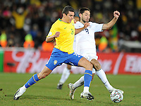 Lucio of Brazil and Clint Dempsey of USA. Brazil defeated USA 3-2 in the FIFA Confederations Cup Final at Ellis Park Stadium in Johannesburg, South Africa on June 28, 2009.