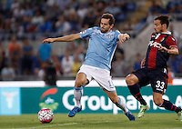 Calcio, Serie A: Lazio vs Bologna. Roma, stadio Olimpico, 22 agosto 2015.<br /> Lazio&rsquo;s Senad Lulic, left, is challenged by Bologna&rsquo;s Matteo Brighi during the Italian Serie A football match between Lazio and Bologna at Rome's Olympic stadium, 22 August 2015.<br /> UPDATE IMAGES PRESS/Isabella Bonotto