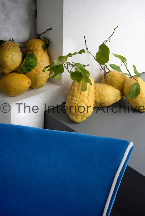 Misshapen lemons are piled in the corner of the contemporary kitchen