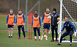 21.02.2019: Rangers training: Stevie Kelly, Jon Flanagan, Jermain Defoe, Gareth McAuley and Colin Stewart