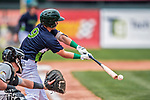 4 September 2017: Vermont Lake Monsters infielder Ryan Gridley connects during the first game of a double-header against the Tri-City ValleyCats at Centennial Field in Burlington, Vermont. The Lake Monsters split their games, falling 6-5 in the first, then winning the second 7-4, thus clinching the NY Penn League Stedler Division Championship. Mandatory Credit: Ed Wolfstein Photo *** RAW (NEF) Image File Available ***