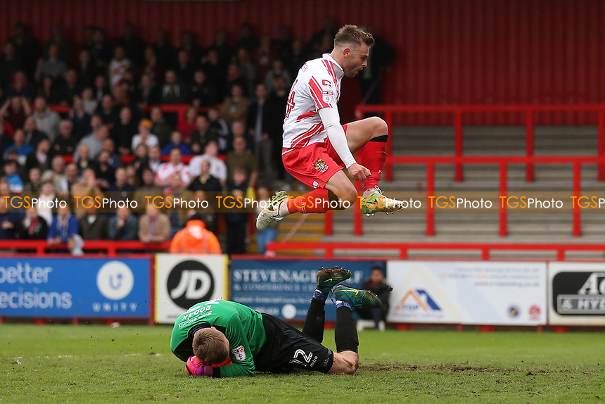 Matthew Godden of Stevenage is denied by Marek Rodak of Accrington Stanley during Stevenage vs Accrington Stanley, Sky Bet EFL League 2 Football at the Lamex Stadium on 6th May 2017
