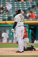 Chris Carter (33) of the Salt Lake Bees bats against the Sacramento River Cats at Smith's Ballpark on April 19, 2018 in Salt Lake City, Utah. Salt Lake defeated Sacramento 10-7. (Stephen Smith/Four Seam Images)