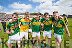 Diarmuid O'Connor, Billy Courtney, Sean O'Shea, Mike Breen and Caolim Teahan Kerry players celebrate after defeating Cork in the Munster Minor Football Final in Fitzgerald Stadium, Killarney on Sunday last.