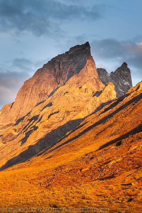 Sunrise light on Caliban Peak, Arrigetch Peaks, Gates of the Arctic National Park, Alaska.
