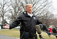 United States President Donald J. Trump departs the White House in Washington, DC on Friday, March 8, 2019.  The President will travel to Alabama to see the damage from the tornados earlier in the week before continuing to Florida to spend the weekend at his Mar-a-Lago resort. Photo Credit: Ron Sachs/CNP/AdMedia