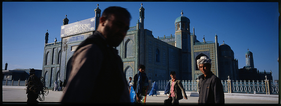 Mazar-i-Sharif's famous Blue Mosque on Feb. 16, 2009. The mosque, reputed to be the burial place of Imam Ali, a pivotal figure in Shia Islam, is a popular pilgrimage site and the heart of the city.