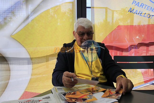 Former champion cyclist Raymond Poulidor in The Tour Village before Stage 1 of the 2016 Tour de France, running 188km from Mont-Saint-Michel to Utah Beach at Sainte-Marie-du-Mont, France . 2nd July 2016.<br /> Picture: Eoin Clarke   Newsfile<br /> <br /> <br /> All photos usage must carry mandatory copyright credit (© Newsfile   Eoin Clarke)
