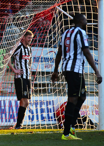 February 18th 2017,  Matchroom Stadium, Leyton, London, England, Skybet Division 2 football, Leyton Orient versus Notts County;  Jonathan Stead of Notts County stands in the back of the Leyton Orient net smiling, after missing a goal scoring opportunity