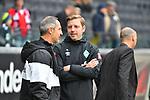 06.10.2019, Commerzbankarena, Frankfurt, GER, 1. FBL, Eintracht Frankfurt vs. SV Werder Bremen, <br /> <br /> DFL REGULATIONS PROHIBIT ANY USE OF PHOTOGRAPHS AS IMAGE SEQUENCES AND/OR QUASI-VIDEO.<br /> <br /> im Bild: Florian Kohlfeldt (Trainer, SV Werder Bremen) mit Adi Hütter / Huetter / Hutter (Trainer Eintracht Frankfurt)<br /> <br /> Foto © nordphoto / Fabisch