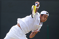 Yen-Hsun Lu (TPA) against Novak Djokovic (SRB) (3) in the Quarter Finals of the gentlemen's singles. Novak Djokovic beat Yen-Hsun Lu 6-3 6-2 6-2  ..Tennis - Wimbledon Lawn Tennis Championships - Day 9 Wed 30 Jun 2010 -  All England Lawn Tennis and Croquet Club - Wimbledon - London - England..© FREY - AMN IMAGES  Level 1, Barry House, 20-22 Worple Road, London, SW19 4DH.TEL - +44 (0) 20 8947 0100.Email - mfrey@advantagemedianet.com.www.advantagemedianet.com