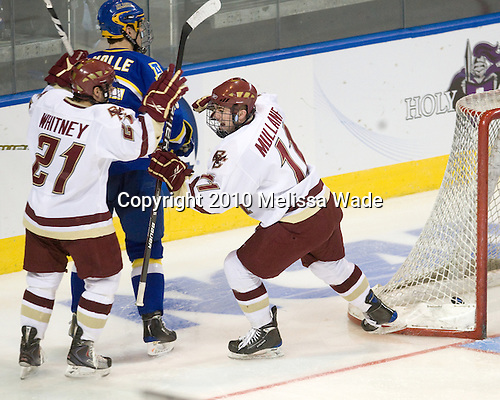 Steven Whitney (BC - 21), Pat Mullane (BC - 11) - The Boston College Eagles defeated the University of Alaska-Fairbanks Nanooks 3-1 (EN) in their NCAA Northeast Regional semi-final on Saturday, March 27, 2010, at the DCU Center in Worcester, Massachusetts.