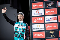 podium with race winner Bryan Coquard (FRA/Vital Concept - B&B Hotels), <br /> <br /> GP Marcel Kint 2019 (BEL)<br /> One Day Race: Kortrijk – Zwevegem 188.10km. (UCI 1.1)<br /> Bingoal Cycling Cup 2019