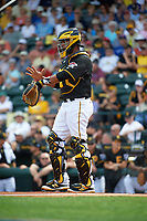 Pittsburgh Pirates catcher Elias Diaz (32) during a Spring Training game against the Toronto Blue Jays  on March 3, 2016 at McKechnie Field in Bradenton, Florida.  Toronto defeated Pittsburgh 10-8.  (Mike Janes/Four Seam Images)